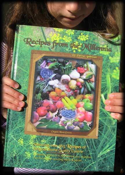 "Girl holding book ""Recipes From the Millennia"""